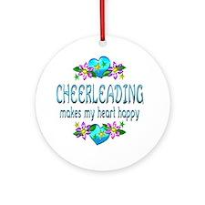 Cheerleading Heart Happy Ornament (Round)