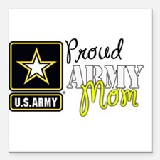 "Proud Army Mom Square Car Magnet 3"" x 3"""