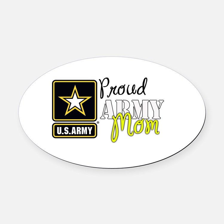 Proud Army Mom Oval Car Magnet