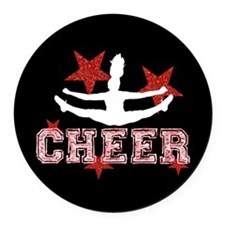 Cheerleader black and red Round Car Magnet