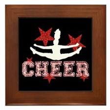 Cheerleader black and red Framed Tile
