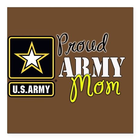 "Proud Army Mom Brown Square Car Magnet 3"" x 3"""