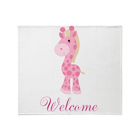 Welcome Pink Giraffe Throw Blanket