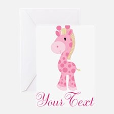 Personalizable Pink Giraffe Greeting Cards