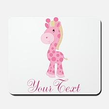 Personalizable Pink Giraffe Mousepad