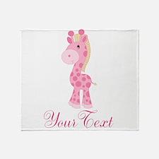 Personalizable Pink Giraffe Throw Blanket