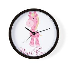 Personalizable Pink Giraffe Wall Clock
