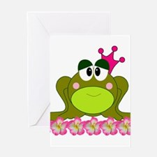 Sweet Pink and Green Frog Princess Greeting Cards