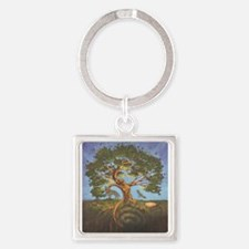 Funny Tree of life Square Keychain