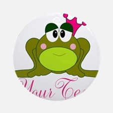 Personalizable Pink and Green Frog Ornament (Round