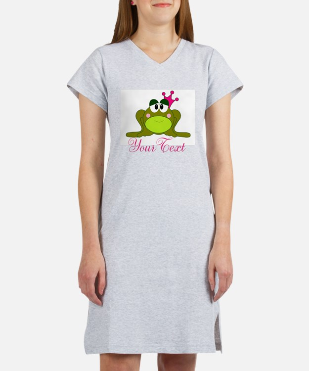 Personalizable Pink and Green Frog Women's Nightsh