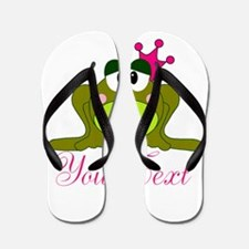 Personalizable Pink and Green Frog Flip Flops