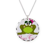 Personalizable Pink and Green Frog Necklace