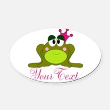 Personalizable Pink and Green Frog Oval Car Magnet