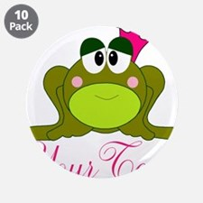 """Personalizable Pink and Green Frog 3.5"""" Button (10"""