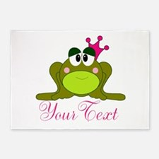 Personalizable Pink and Green Frog 5'x7'Area Rug