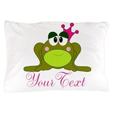 Personalizable Pink and Green Frog Pillow Case