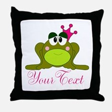Personalizable Pink and Green Frog Throw Pillow