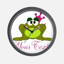 Personalizable Pink and Green Frog Wall Clock