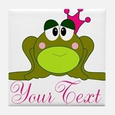 Personalizable Pink and Green Frog Tile Coaster