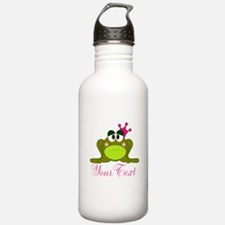 Personalizable Pink and Green Frog Water Bottle
