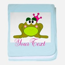 Personalizable Pink and Green Frog baby blanket