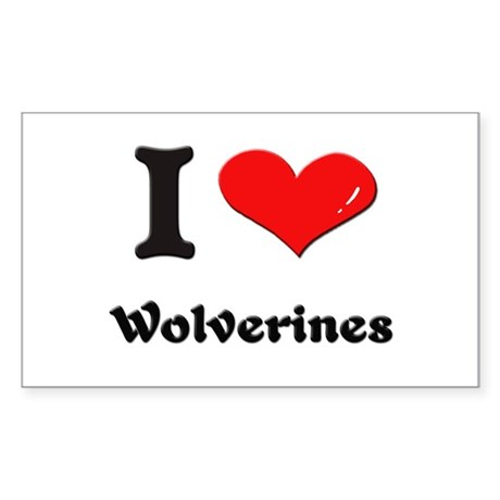 I love wolverines Rectangle Sticker