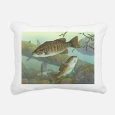 underwater bass fishing Rectangular Canvas Pillow