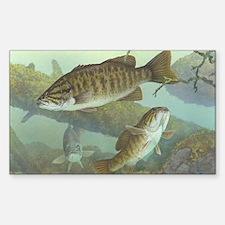 underwater bass fishing Sticker (Rectangle)