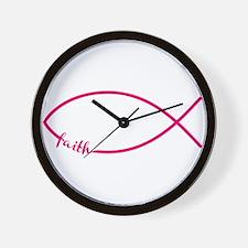 Fuschia Christian Faith Fish Wall Clock