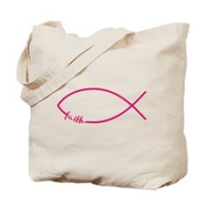 Fuschia Christian Faith Fish Tote Bag