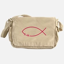 Fuschia Christian Faith Fish Messenger Bag