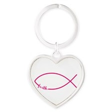 Fuschia Christian Faith Fish Heart Keychain