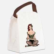 Red Head Waitress Pin Up Girl Canvas Lunch Bag