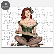 Red Head Waitress Pin Up Girl Puzzle