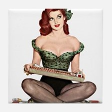 Red Head Waitress Pin Up Girl Tile Coaster