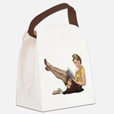 Librarian Student Pin Up Girl Canvas Lunch Bag
