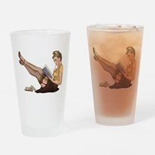 Librarian Student Pin Up Girl Drinking Glass