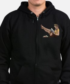 Librarian Student Pin Up Girl Zip Hoodie