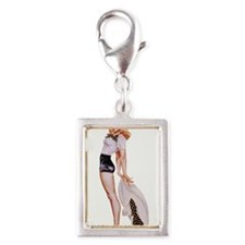 Blonde Derby Black White Pin Up Girl Charms