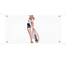 Blonde Derby Black White Pin Up Girl Banner