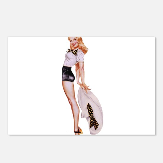 Blonde Derby Black White Pin Up Girl Postcards (Pa