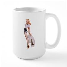 Blonde Derby Black White Pin Up Girl Mugs