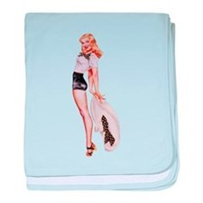 Blonde Derby Black White Pin Up Girl baby blanket