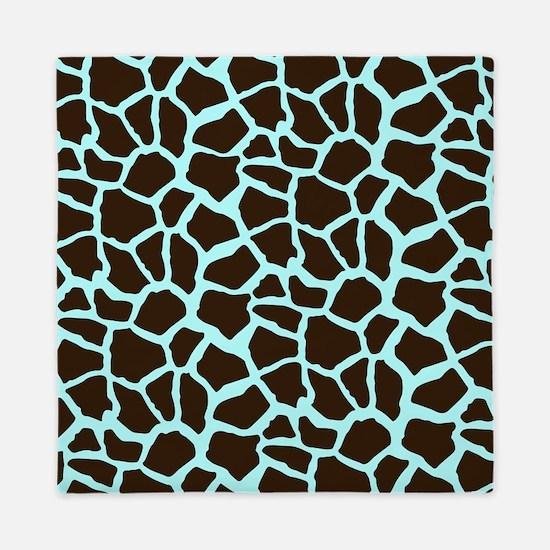 Blue and Brown Giraffe Animal Print Queen Duvet
