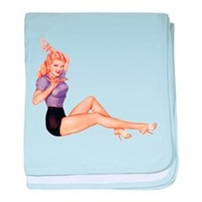 Harmonious Blonde Pin Up Girl baby blanket