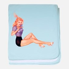 Harmonious Blonde Pin Up Girl baby blanket