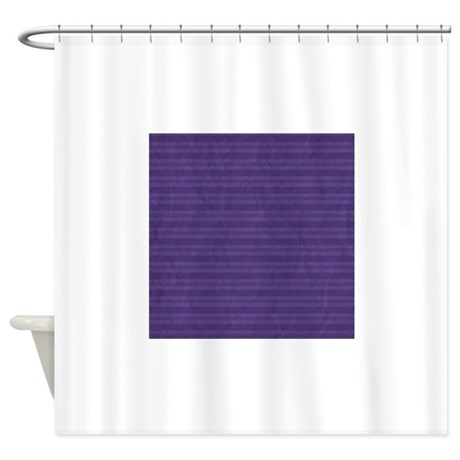 Navy Blue Vintage Double Stripes Shower Curtain By PatternDesigns