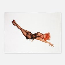 Red Head Black Lingerie Pin Up Girl 5'x7'Area Rug