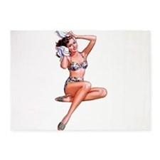 High Waist Floral Bikini Summer Pin Up Girl 5'x7'A
